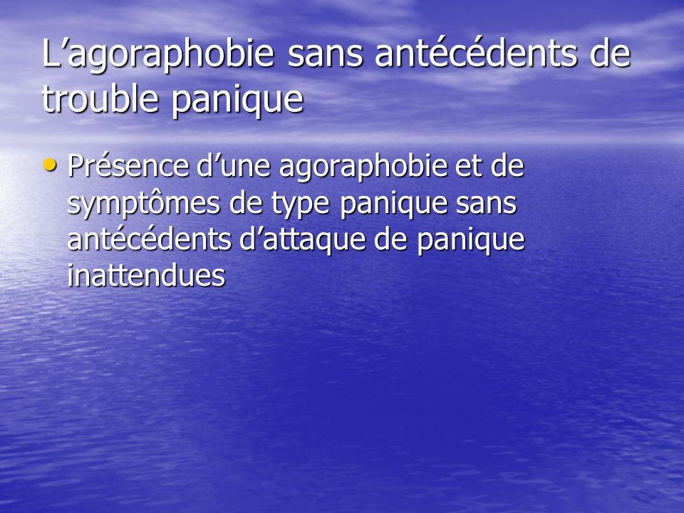 Lagoraphobie sans antécédents de trouble panique Présence dune agoraphobie et de symptômes de type panique sans antécédents dattaque de panique inatte