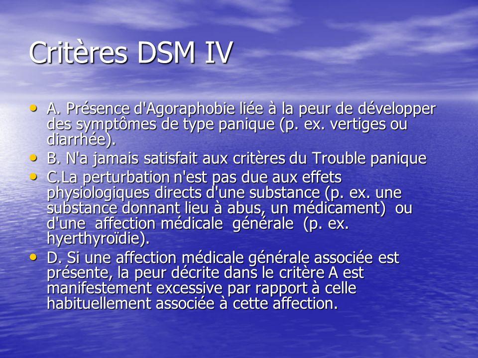 Critères DSM IV A. Présence d'Agoraphobie liée à la peur de développer des symptômes de type panique (p. ex. vertiges ou diarrhée). A. Présence d'Agor