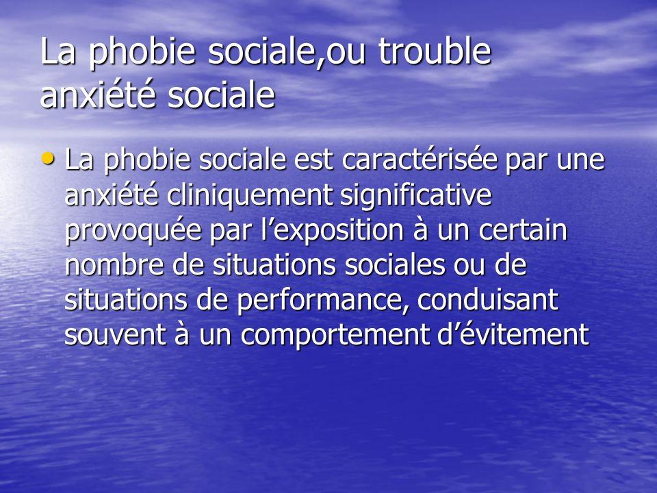 La phobie sociale,ou trouble anxiété sociale La phobie sociale est caractérisée par une anxiété cliniquement significative provoquée par lexposition à