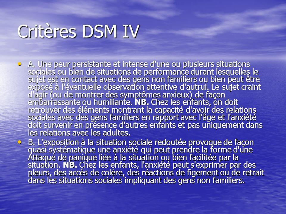 Critères DSM IV A. Une peur persistante et intense d'une ou plusieurs situations sociales ou bien de situations de performance durant lesquelles le su
