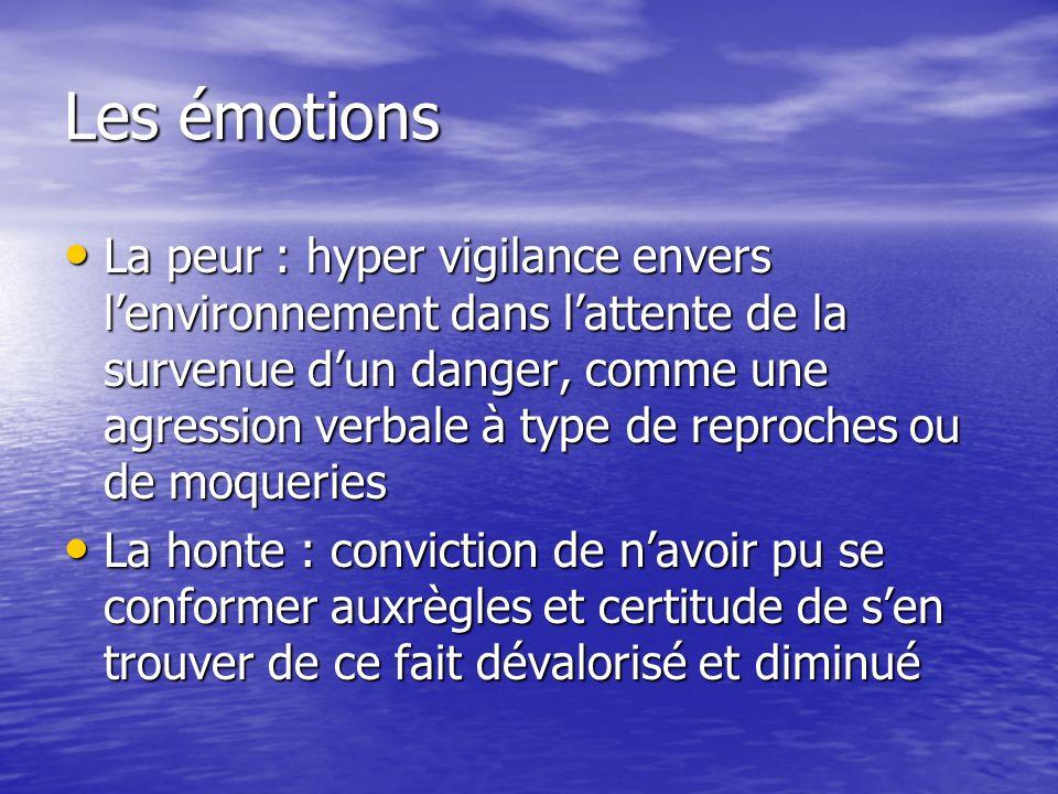 Les émotions La peur : hyper vigilance envers lenvironnement dans lattente de la survenue dun danger, comme une agression verbale à type de reproches