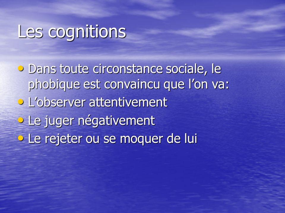 Les cognitions Dans toute circonstance sociale, le phobique est convaincu que lon va: Dans toute circonstance sociale, le phobique est convaincu que l