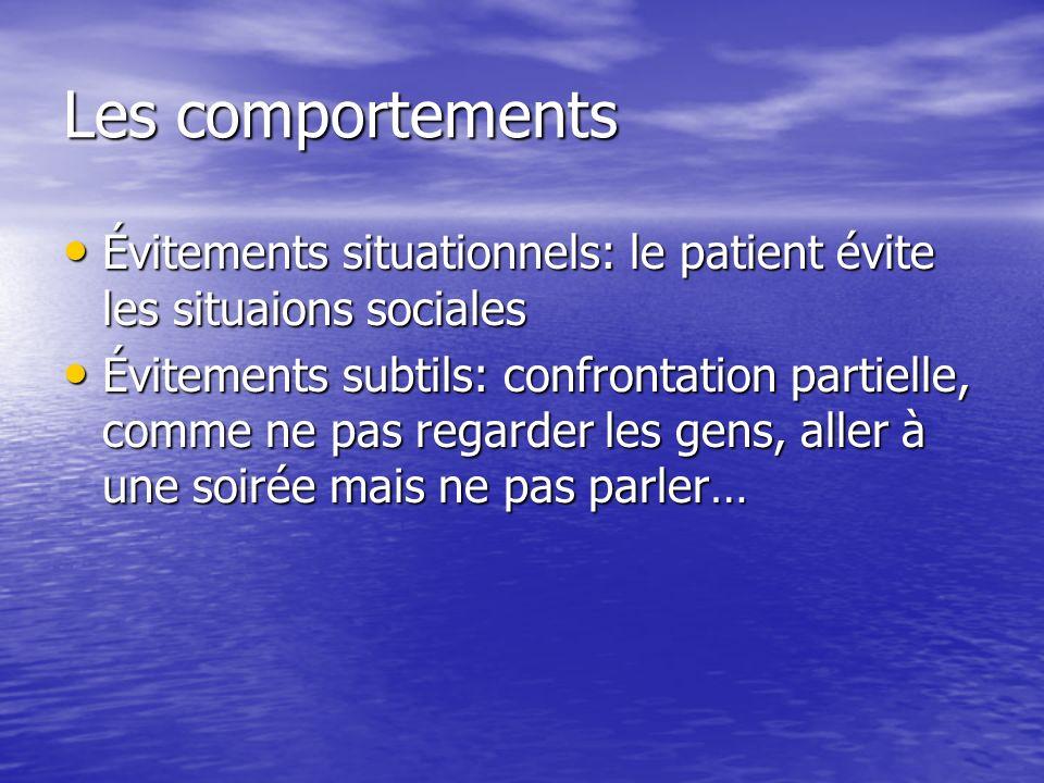 Les comportements Évitements situationnels: le patient évite les situaions sociales Évitements situationnels: le patient évite les situaions sociales