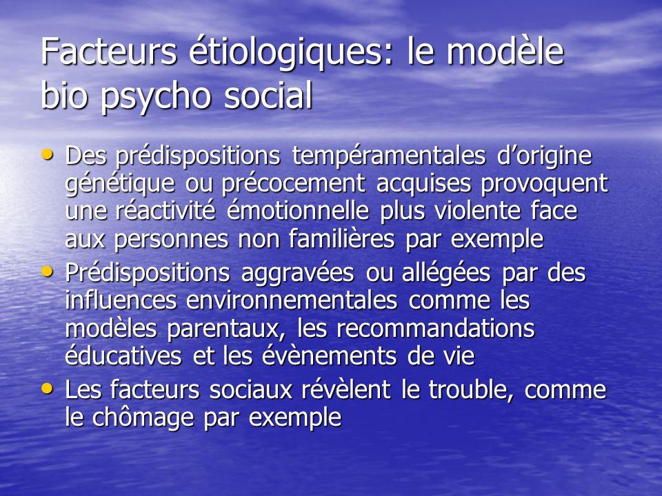 Facteurs étiologiques: le modèle bio psycho social Des prédispositions tempéramentales dorigine génétique ou précocement acquises provoquent une réact