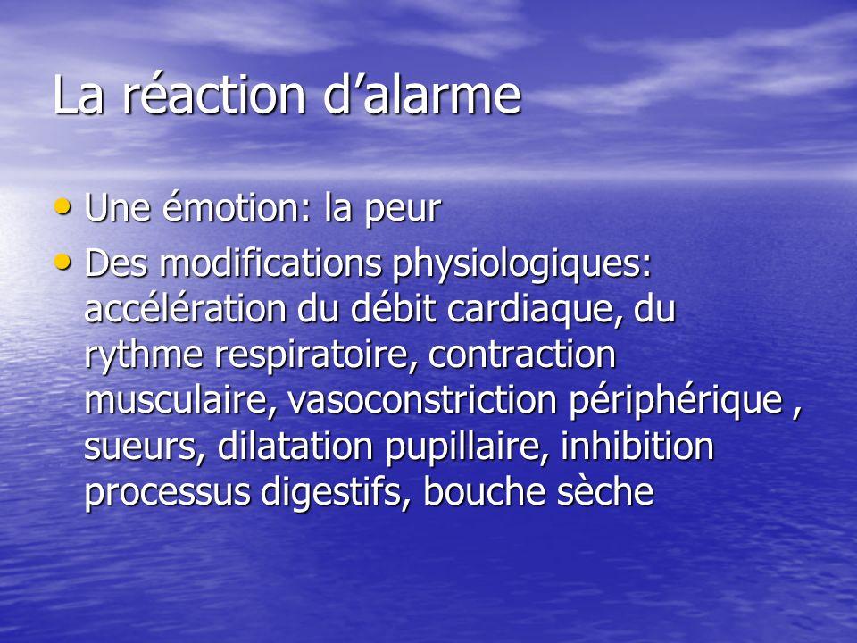 La réaction dalarme Une émotion: la peur Une émotion: la peur Des modifications physiologiques: accélération du débit cardiaque, du rythme respiratoire, contraction musculaire, vasoconstriction périphérique, sueurs, dilatation pupillaire, inhibition processus digestifs, bouche sèche Des modifications physiologiques: accélération du débit cardiaque, du rythme respiratoire, contraction musculaire, vasoconstriction périphérique, sueurs, dilatation pupillaire, inhibition processus digestifs, bouche sèche