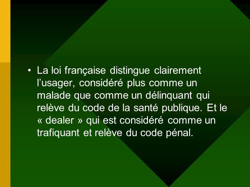 La loi française distingue clairement lusager, considéré plus comme un malade que comme un délinquant qui relève du code de la santé publique. Et le «