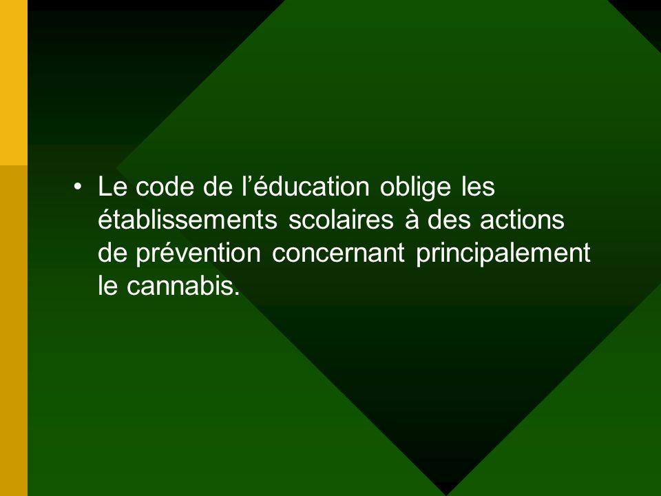 Le code de léducation oblige les établissements scolaires à des actions de prévention concernant principalement le cannabis.