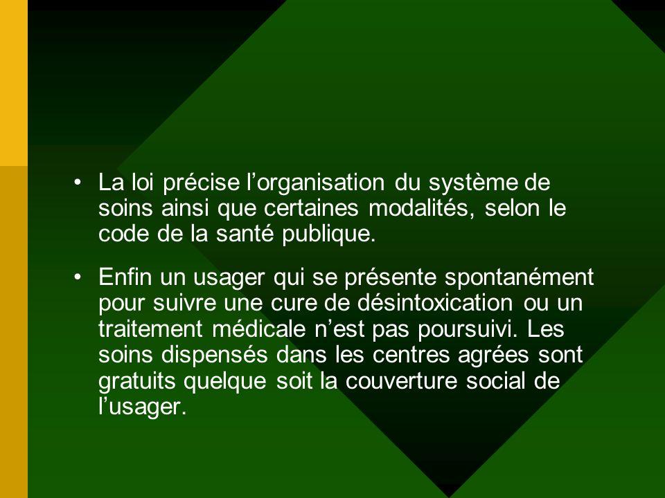 La loi précise lorganisation du système de soins ainsi que certaines modalités, selon le code de la santé publique. Enfin un usager qui se présente sp