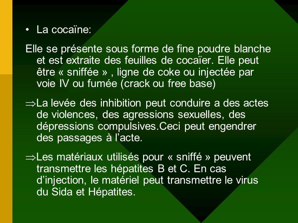La cocaïne: Elle se présente sous forme de fine poudre blanche et est extraite des feuilles de cocaïer. Elle peut être « sniffée », ligne de coke ou i