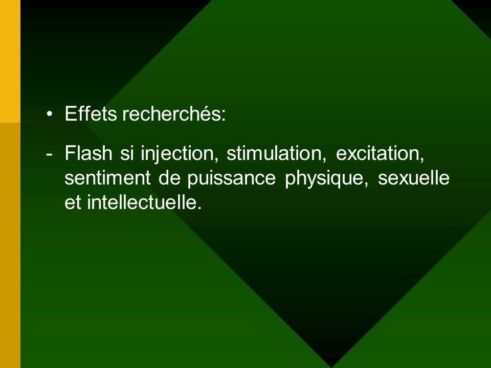 Effets recherchés: -Flash si injection, stimulation, excitation, sentiment de puissance physique, sexuelle et intellectuelle.
