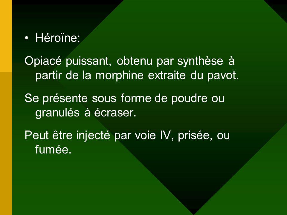 Héroïne: Opiacé puissant, obtenu par synthèse à partir de la morphine extraite du pavot. Se présente sous forme de poudre ou granulés à écraser. Peut