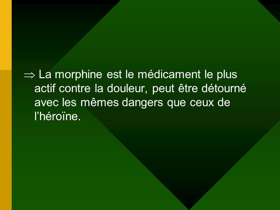 La morphine est le médicament le plus actif contre la douleur, peut être détourné avec les mêmes dangers que ceux de lhéroïne.