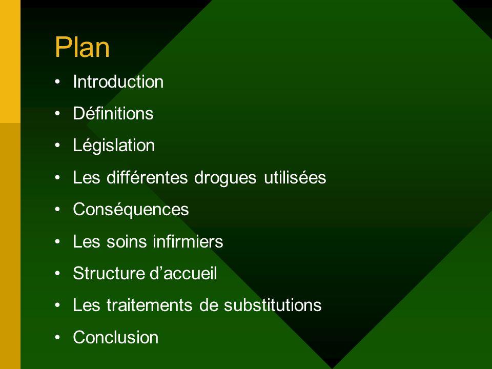 Plan Introduction Définitions Législation Les différentes drogues utilisées Conséquences Les soins infirmiers Structure daccueil Les traitements de su