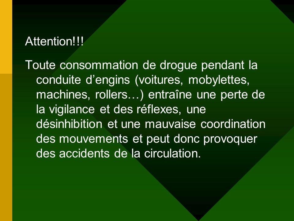 Attention!!! Toute consommation de drogue pendant la conduite dengins (voitures, mobylettes, machines, rollers…) entraîne une perte de la vigilance et