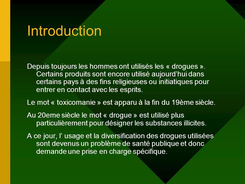Introduction Depuis toujours les hommes ont utilisés les « drogues ». Certains produits sont encore utilisé aujourdhui dans certains pays à des fins r