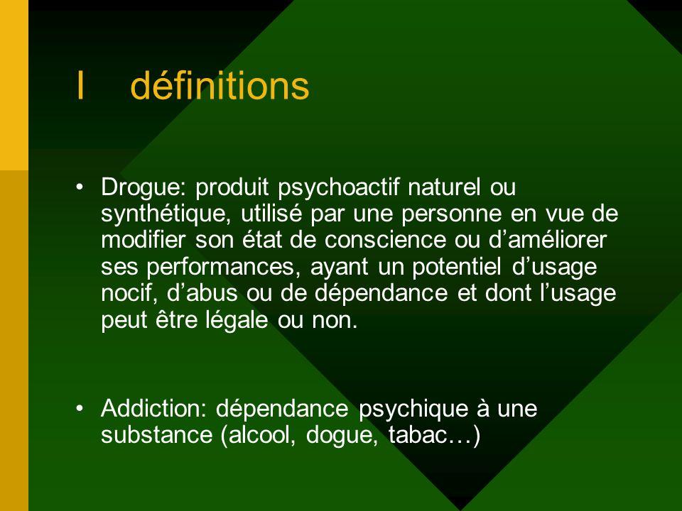 I définitions Drogue: produit psychoactif naturel ou synthétique, utilisé par une personne en vue de modifier son état de conscience ou daméliorer ses