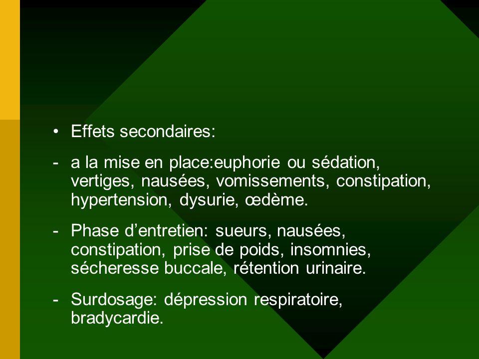Effets secondaires: -a la mise en place:euphorie ou sédation, vertiges, nausées, vomissements, constipation, hypertension, dysurie, œdème. -Phase dent