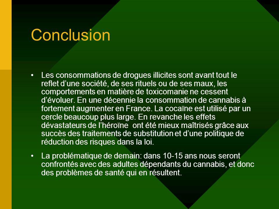Conclusion Les consommations de drogues illicites sont avant tout le reflet dune société, de ses rituels ou de ses maux, les comportements en matière