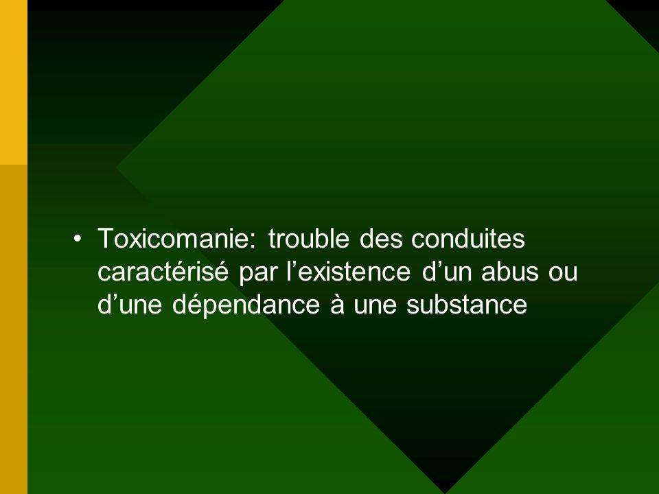 Toxicomanie: trouble des conduites caractérisé par lexistence dun abus ou dune dépendance à une substance