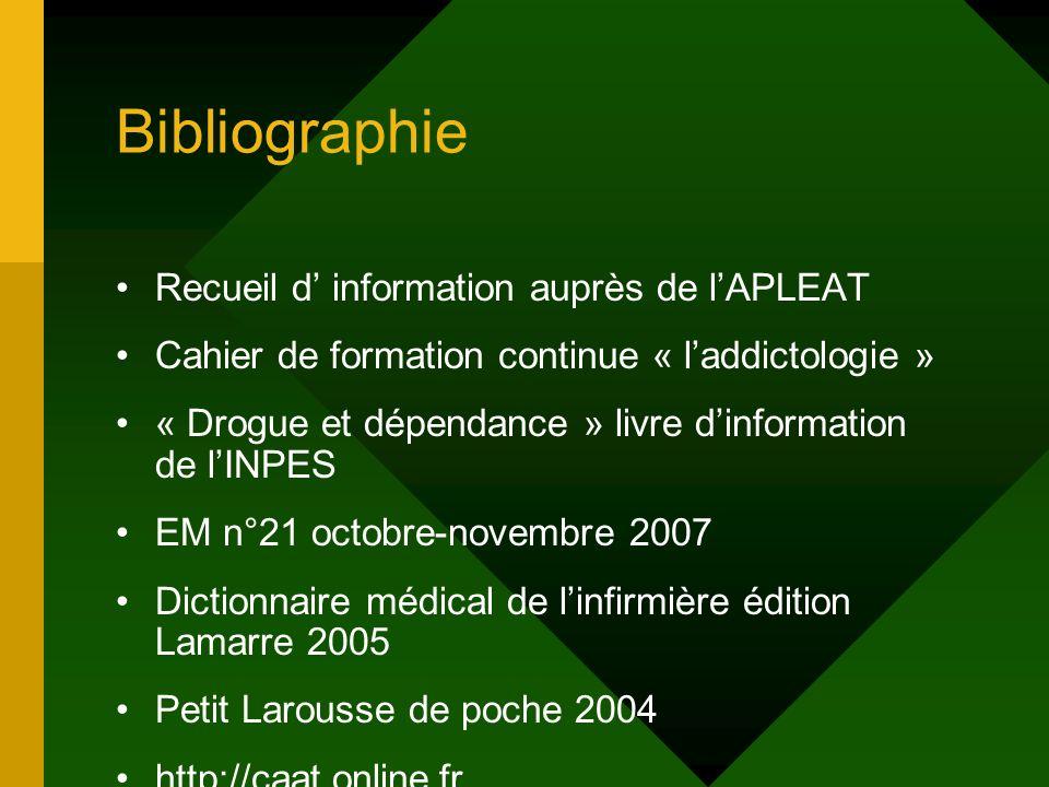 Bibliographie Recueil d information auprès de lAPLEAT Cahier de formation continue « laddictologie » « Drogue et dépendance » livre dinformation de lI
