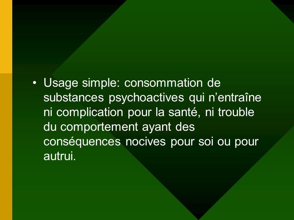 Usage simple: consommation de substances psychoactives qui nentraîne ni complication pour la santé, ni trouble du comportement ayant des conséquences