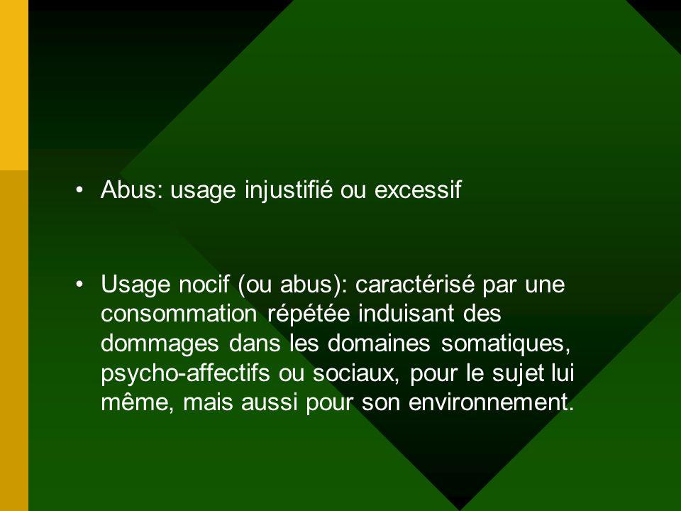 Abus: usage injustifié ou excessif Usage nocif (ou abus): caractérisé par une consommation répétée induisant des dommages dans les domaines somatiques