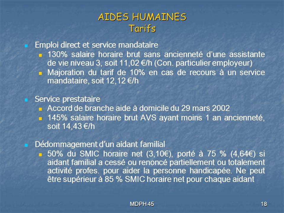 MDPH 4518 AIDES HUMAINES Tarifs Emploi direct et service mandataire 130% salaire horaire brut sans ancienneté dune assistante de vie niveau 3, soit 11,02 /h (Con.