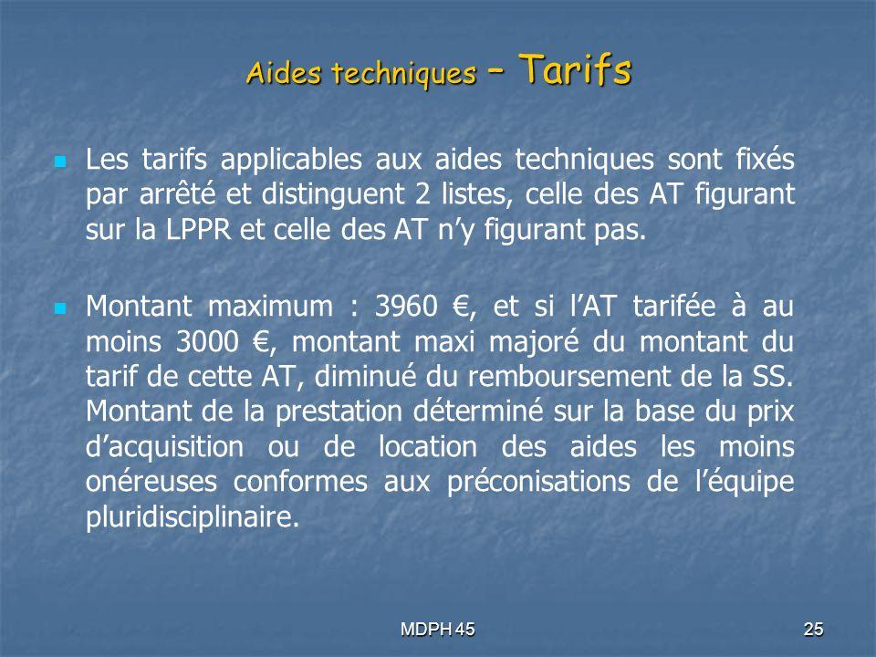 MDPH 4525 Aides techniques – Tarifs Les tarifs applicables aux aides techniques sont fixés par arrêté et distinguent 2 listes, celle des AT figurant sur la LPPR et celle des AT ny figurant pas.