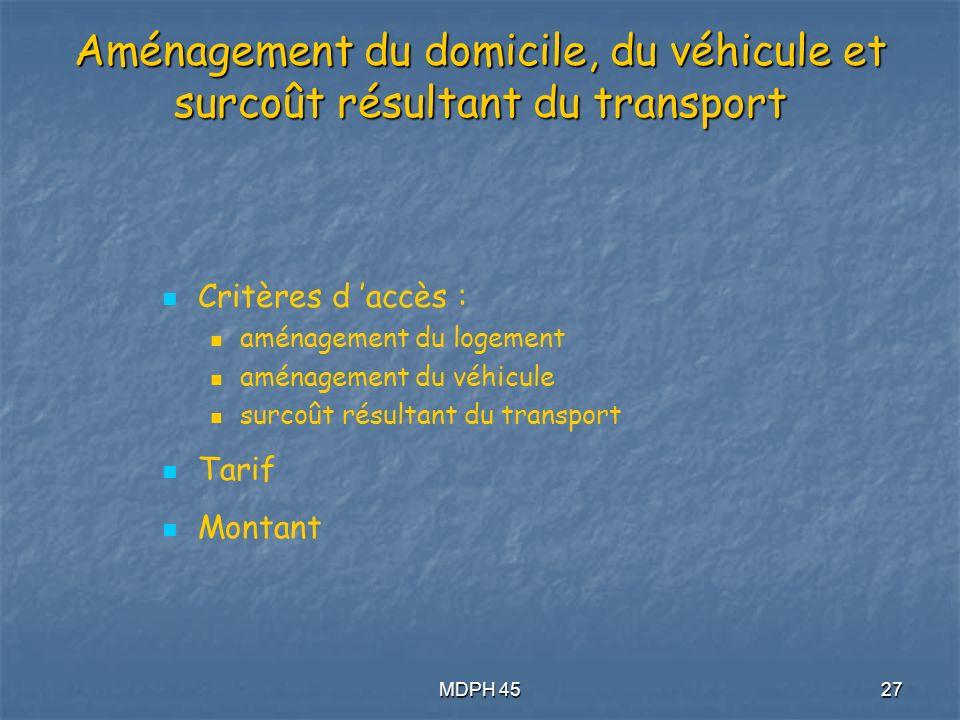 MDPH 4527 Aménagement du domicile, du véhicule et surcoût résultant du transport Critères d accès : aménagement du logement aménagement du véhicule surcoût résultant du transport Tarif Montant