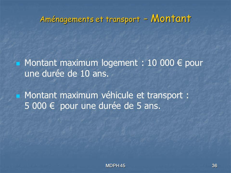 MDPH 4536 Aménagements et transport - Montant Montant maximum logement : 10 000 pour une durée de 10 ans.