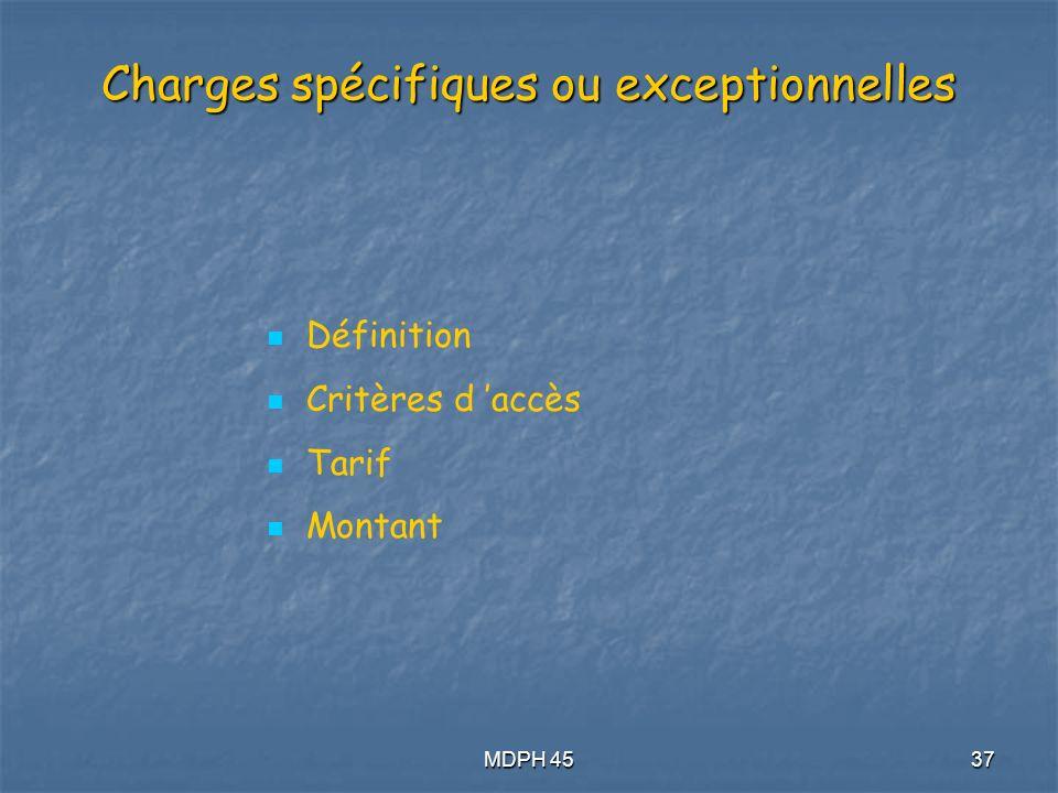 MDPH 4537 Charges spécifiques ou exceptionnelles Définition Critères d accès Tarif Montant