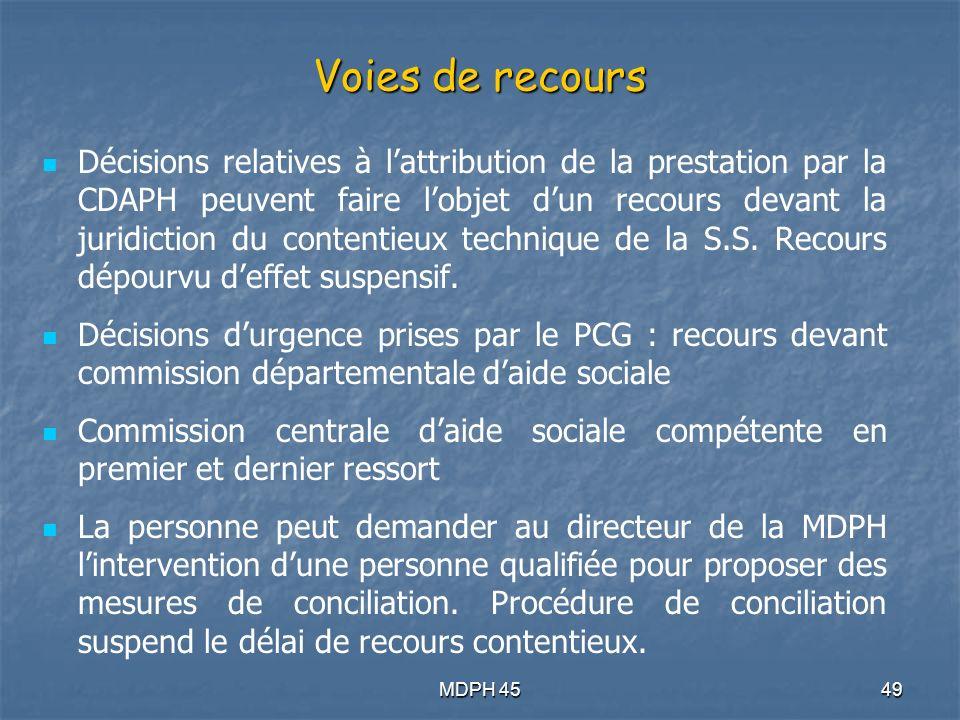 MDPH 4549 Voies de recours Décisions relatives à lattribution de la prestation par la CDAPH peuvent faire lobjet dun recours devant la juridiction du contentieux technique de la S.S.