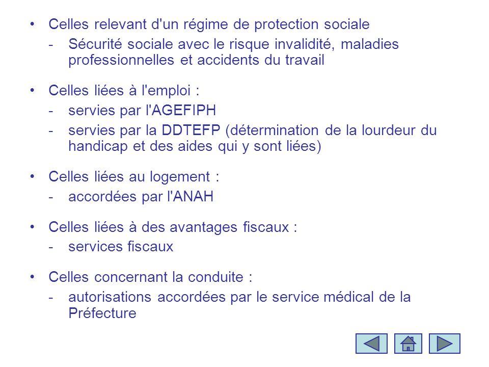 Celles relevant d'un régime de protection sociale -Sécurité sociale avec le risque invalidité, maladies professionnelles et accidents du travail Celle