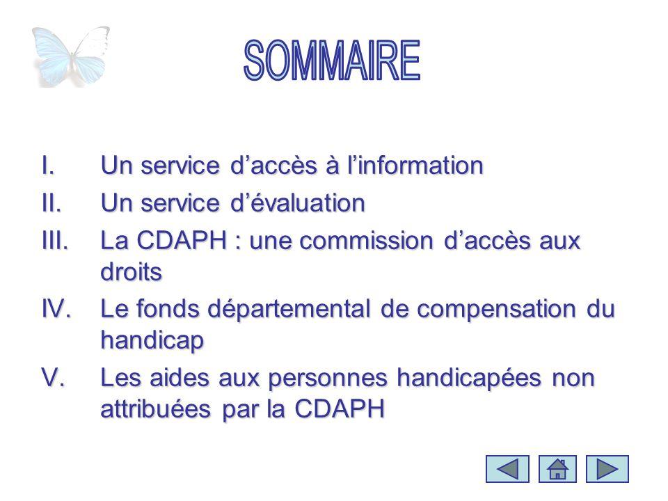 I.Un service daccès à linformation II.Un service dévaluation III.La CDAPH : une commission daccès aux droits IV.Le fonds départemental de compensation