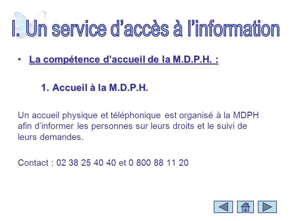 La compétence daccueil de la M.D.P.H. :La compétence daccueil de la M.D.P.H. : 1.Accueil à la M.D.P.H. Un accueil physique et téléphonique est organis