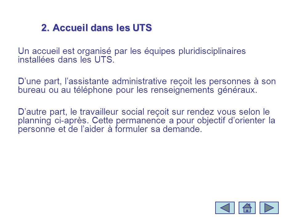 2.Accueil dans les UTS Un accueil est organisé par les équipes pluridisciplinaires installées dans les UTS. Dune part, lassistante administrative reço