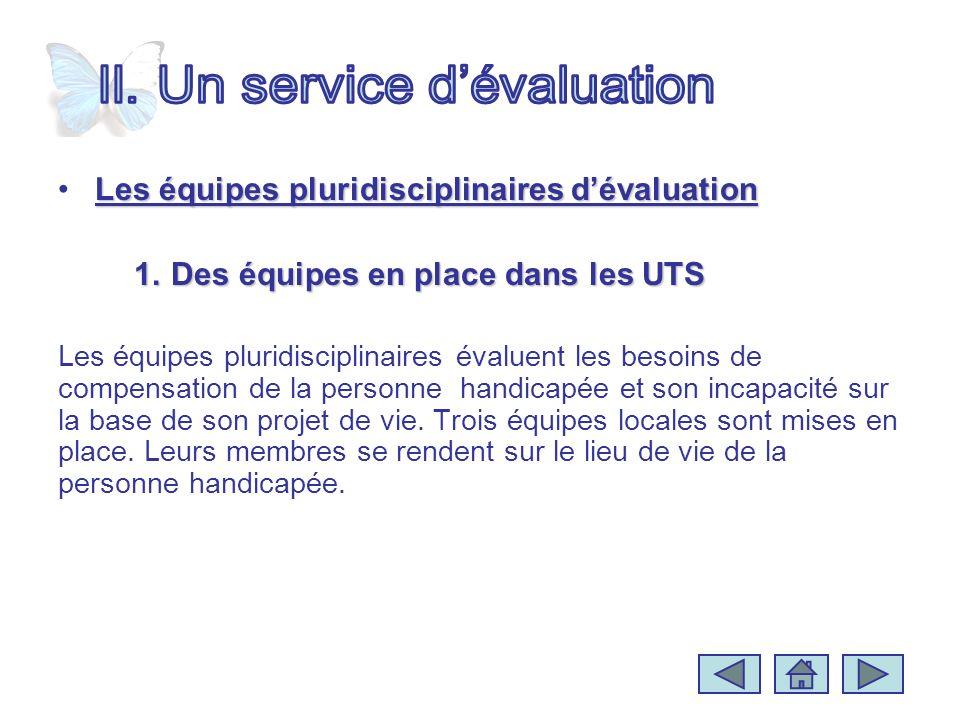 Les équipes pluridisciplinaires dévaluationLes équipes pluridisciplinaires dévaluation 1.Des équipes en place dans les UTS Les équipes pluridisciplina