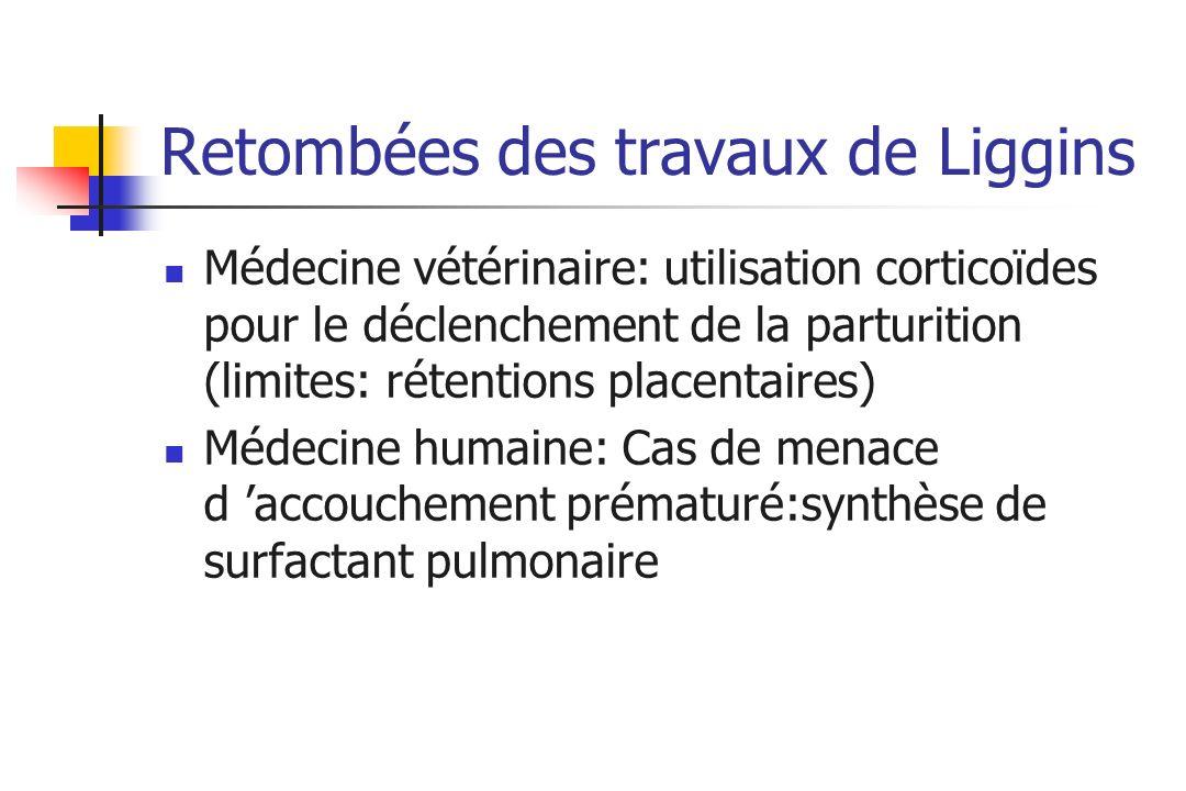 Retombées des travaux de Liggins Médecine vétérinaire: utilisation corticoïdes pour le déclenchement de la parturition (limites: rétentions placentair