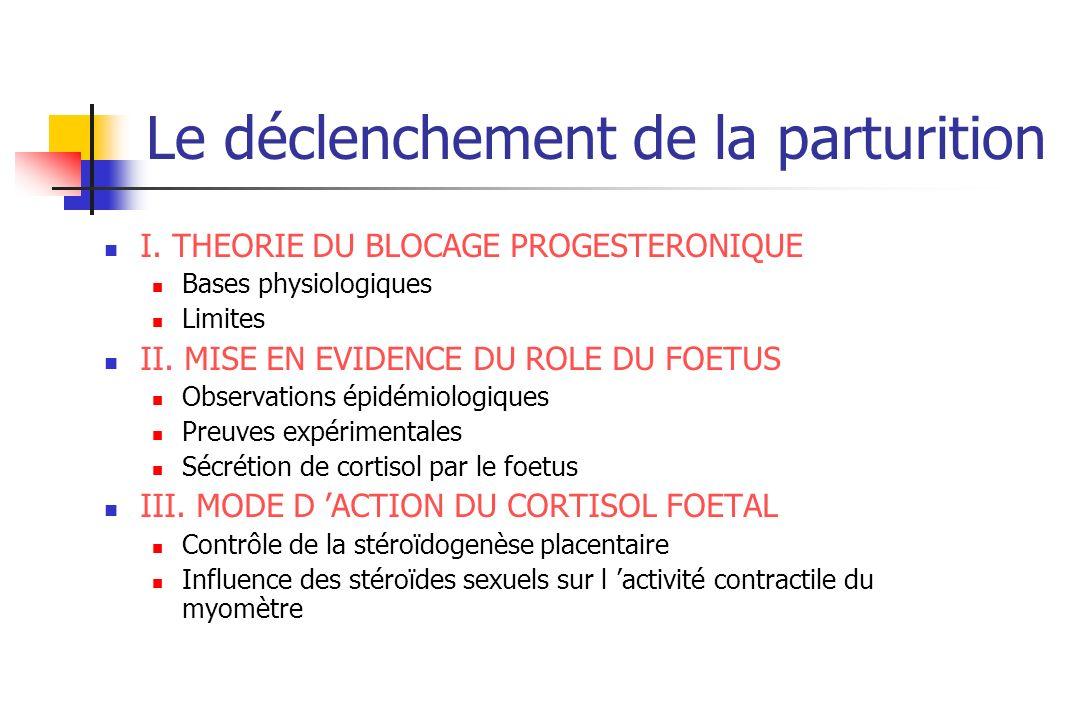 Le déclenchement de la parturition I. THEORIE DU BLOCAGE PROGESTERONIQUE Bases physiologiques Limites II. MISE EN EVIDENCE DU ROLE DU FOETUS Observati