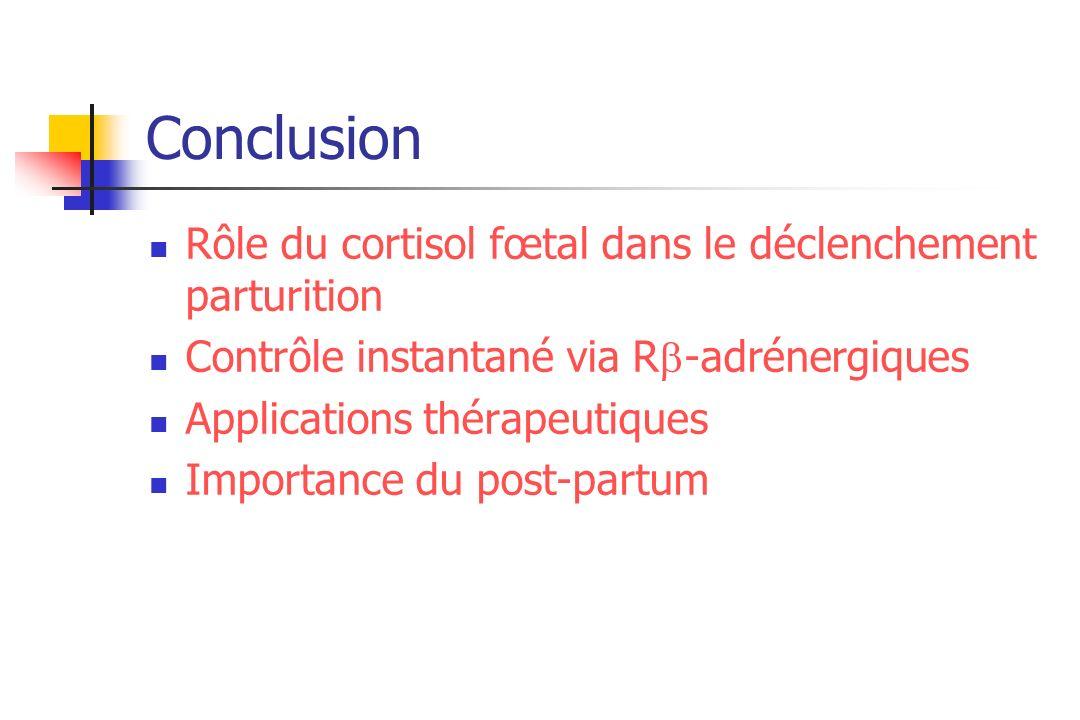 Conclusion Rôle du cortisol fœtal dans le déclenchement parturition Contrôle instantané via R -adrénergiques Applications thérapeutiques Importance du