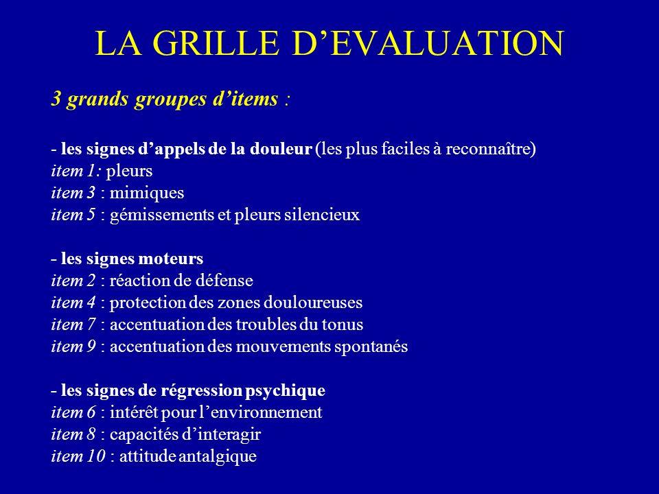 LA GRILLE DEVALUATION 3 grands groupes ditems : - les signes dappels de la douleur (les plus faciles à reconnaître) item 1: pleurs item 3 : mimiques i