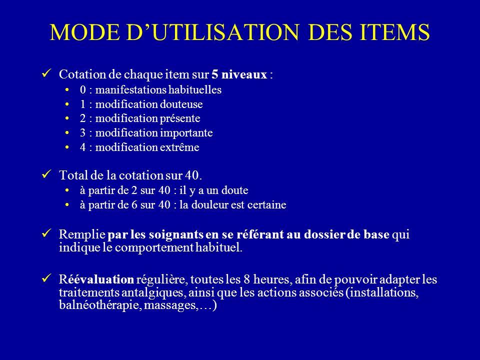 MODE DUTILISATION DES ITEMS Cotation de chaque item sur 5 niveaux : 0 : manifestations habituelles 1 : modification douteuse 2 : modification présente