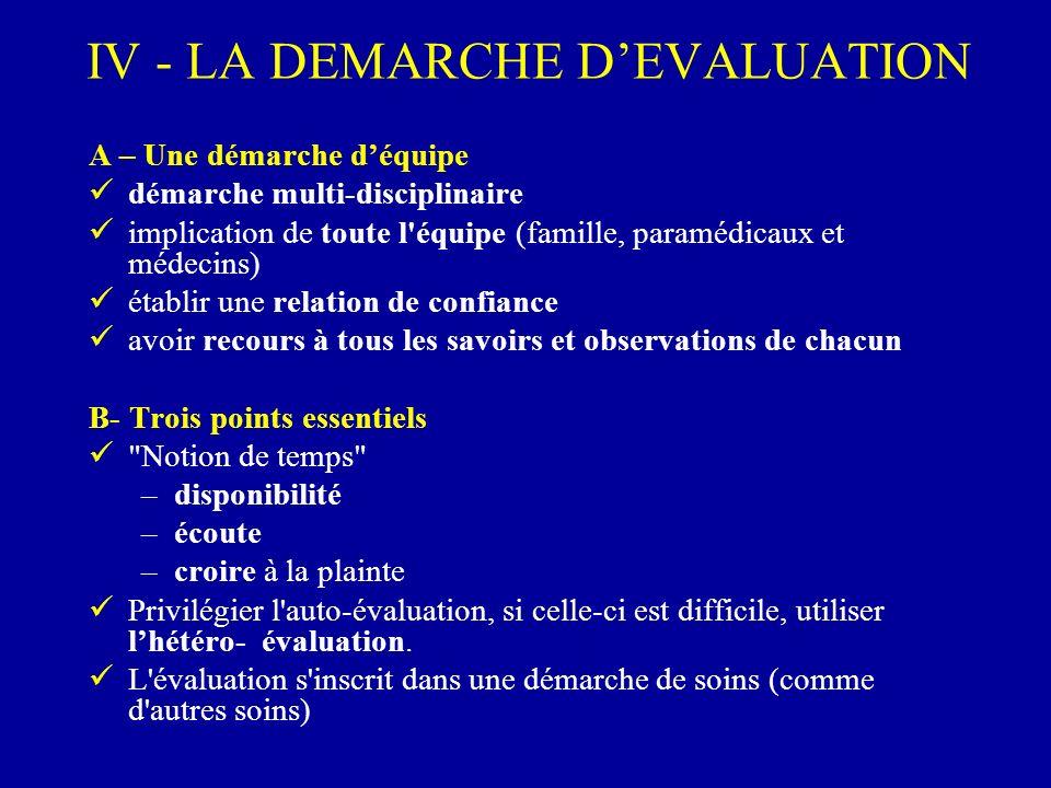 IV - LA DEMARCHE DEVALUATION A – Une démarche déquipe démarche multi-disciplinaire implication de toute l'équipe (famille, paramédicaux et médecins) é