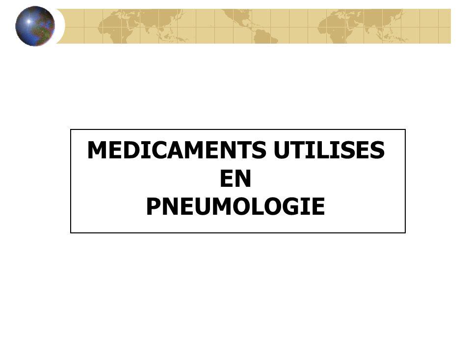 SOMMAIRE I - LES MEDICAMENTS DE LASTHME II - LES AUTRES MEDICAMENTS UTILISES EN PNEUMOLOGIE A - LES FLUIDIFIANT OU MUCOLYTIQUES B - LES ANALEPTIQUES RESPIRATOIRES C - LES ANTITUSSIFS D - LES SURFACTANTS PULMONAIRES