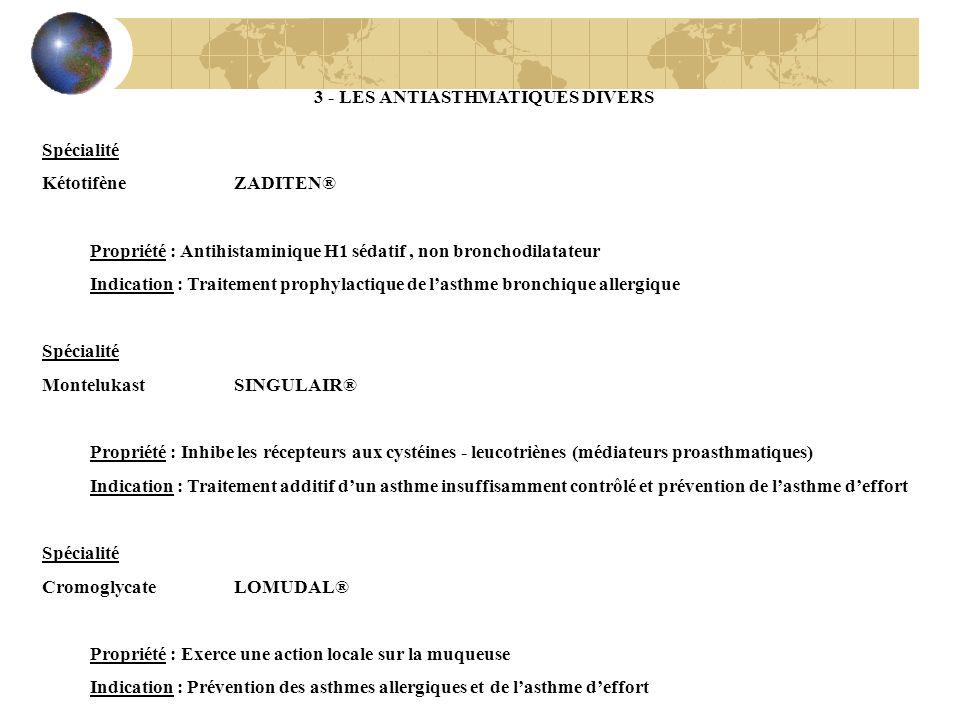 3 - LES ANTIASTHMATIQUES DIVERS Spécialité Kétotifène ZADITEN® Propriété : Antihistaminique H1 sédatif, non bronchodilatateur Indication : Traitement