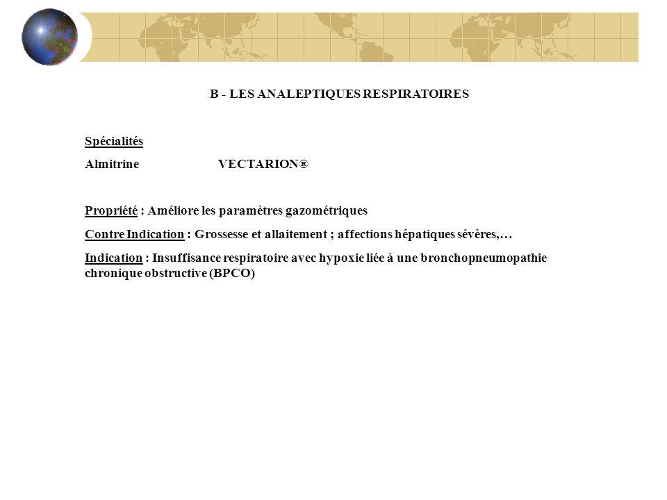 B - LES ANALEPTIQUES RESPIRATOIRES Spécialités Almitrine VECTARION® Propriété : Améliore les paramètres gazométriques Contre Indication : Grossesse et
