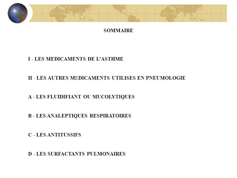 SOMMAIRE I - LES MEDICAMENTS DE LASTHME II - LES AUTRES MEDICAMENTS UTILISES EN PNEUMOLOGIE A - LES FLUIDIFIANT OU MUCOLYTIQUES B - LES ANALEPTIQUES R