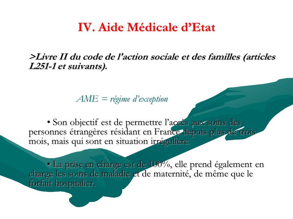 IV. Aide Médicale dEtat >Livre II du code de l'action sociale et des familles (articles L251-1 et suivants). AME = régime dexception Son objectif est