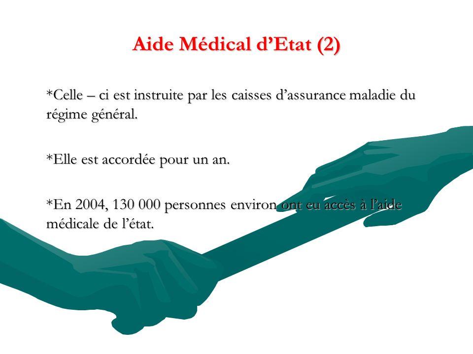 Aide Médical dEtat (2) *Celle – ci est instruite par les caisses dassurance maladie du régime général. *Elle est accordée pour un an. *En 2004, 130 00