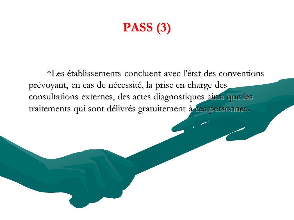 PASS (3) *Les établissements concluent avec létat des conventions prévoyant, en cas de nécessité, la prise en charge des consultations externes, des a